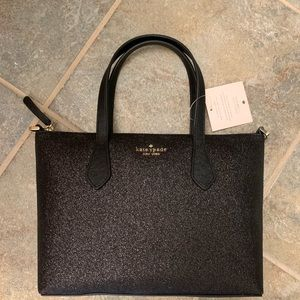 KATE SPADE GLITTER JOELEY SMALL SATCHEL BAG BLACK